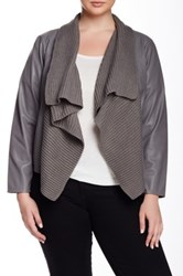 Bb Dakota Alston Knit Trim Faux Leather Jacket Gray