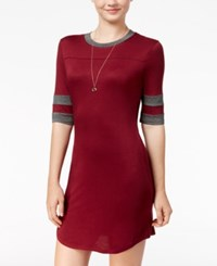 Ultra Flirt Juniors' Rugby T Shirt Dress Maroon