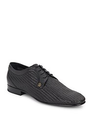 Roberto Cavalli Woven Leather Derby Shoes Black