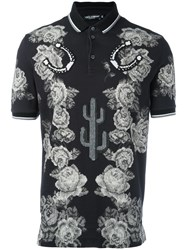 Dolce And Gabbana Rose Print Polo Shirt Black