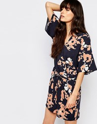 Just Female Pen Wrap Playsuit In Floral Print Anthracite Print Multi