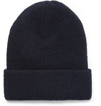 Acne Studios Kosta Ribbed Wool Blend Beanie Navy