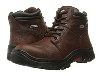 Skechers Burgin Taney Black Oiled Tumbled Leather Women's Shoes Brown