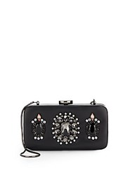 Saks Fifth Avenue Rhinestone Detailed Minaudiere Black