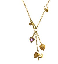 Annina Vogel 9Ct Yellow Gold And Amethyst All Hearts Signature Necklace