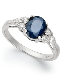 Macy's 14K White Gold Ring Sapphire 1 1 2 Ct. T.W. And Diamond 1 3 Ct. T.W. Oval Ring Blue