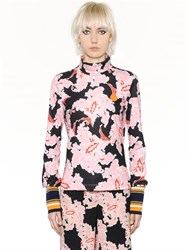 Msgm Floral Printed Jersey Stretch Top