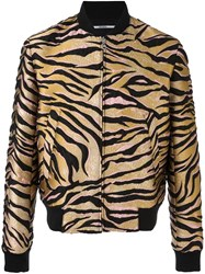 Kenzo Tiger Stripes Bomber Jacket Nude And Neutrals