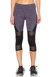 Lanston Sport Mesh And Color Block Cropped Legging Purple
