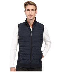 Perry Ellis Quilted Mix Media Knit Jacket Dark Sapphire Men's Vest Blue