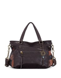 The Sak Tahoe Leather Satchel Bag Mahogany Patch