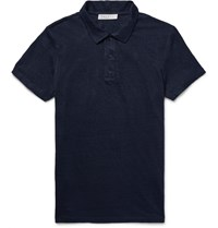 Sandro Slim Fit Slub Linen Polo Shirt Blue