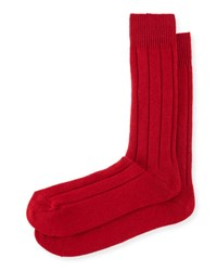 Neiman Marcus Cashmere Blend Ribbed Socks Red