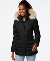 Larry Levine Faux Fur Hood Down Puffer Jacket Black