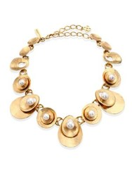Oscar De La Renta Swarovski Crystal Pearl Disc Statement Necklace Light Gold