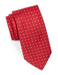 August Silk Neat Dotted Tie Red