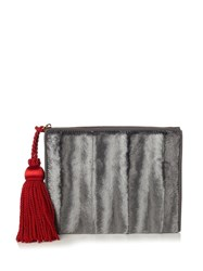 Hillier Bartley Tassel Velvet Clutch Grey Multi