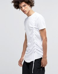 Asos Super Longline T Shirt With Ruched Front In White White