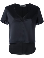 Alexander Wang T By Satin Overlay Top Black