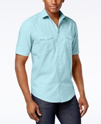 Alfani Short Sleeve Warren Textured Shirt Sea Coast