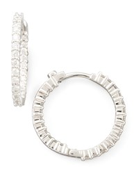 22Mm White Gold Diamond Huggie Hoop Earrings 1Ct Roberto Coin Red
