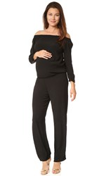 Monrow Maternity Off Shoulder Jumpsuit Black