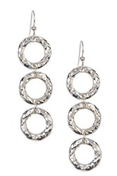 Simon Sebbag Sterling Silver Hammered Triple Drop Earrings Metallic