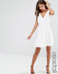 Asos Tall Pleated Mini Skater Dress With Embellished Waist White