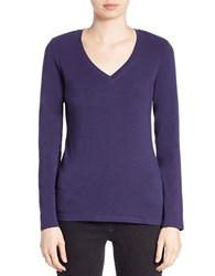 Lord And Taylor Stretch Cotton V Neck Tee Evening Blue