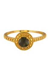 Savvy Cie 14K Gold Plated Sterling Silver Black Sapphire Solitaire Ring