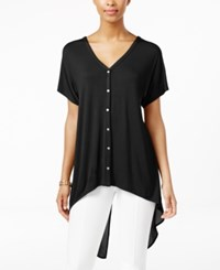 August Silk Short Sleeve Chiffon Back High Low Blouse Black