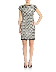 Vince Camuto Sequined Embroidery Sheath Dress Black Gold