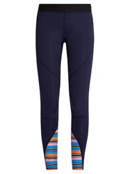 Salt Gypsy Contrast Panel Performance Leggings Navy Stripe