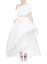 Rosie Assoulin Made To Order 'Charlie' One Shoulder Silk Faille Flare Gown White