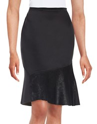 Elie Tahari Leather Panelled Skirt Grey
