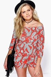 Boohoo Dinni Paisley Off The Shoulder Playsuit Red