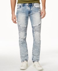 Guess Men's Slim Fit Tapered Achieve Wash Moto Jeans