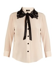 Marc Jacobs Guipure Lace Collar Silk Crepe De Chine Blouse Light Purple
