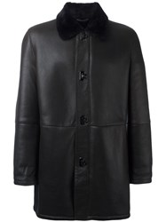 Salvatore Ferragamo Gancio Fastening Leather Coat Brown