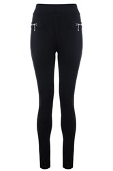 Quiz Black High Waisted Zip Leggings