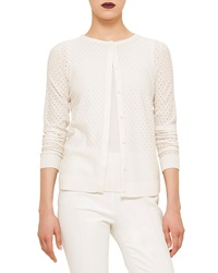 Akris Punto Long Sleeve Perforated Cardigan Cream