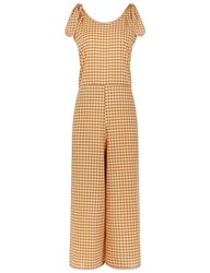 Mih Jeans Sunset Check Shoulder Tie Playsuit Yellow
