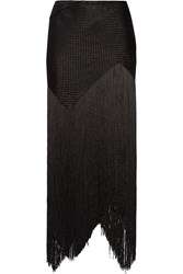 Proenza Schouler Fringed Basketweave Canvas Maxi Skirt Black