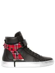 D S De Croc And Plaid Leather High Top Sneakers