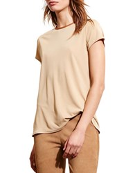 Lauren Ralph Lauren Petite Faux Leather Trim Jersey Tee Tan