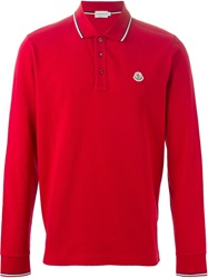 Moncler Long Sleeve Polo Shirt Red