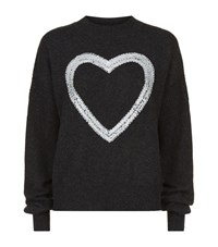 Wildfox Couture Embellished Heart Jumper Female Dark Grey