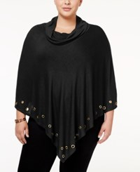 Belldini Plus Size Embellished Cowl Neck Poncho Black Gold