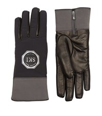 Stefano Ricci Fleece Lined Lambskin And Nylon Ski Gloves Unisex Dark Grey