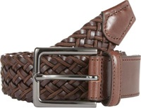 Barneys New York Elasticized Woven Leather And Fabric Belt Brown